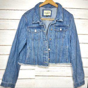 Ashley Vintage Charm Cutoff Jean Jacket L